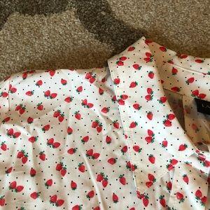 Lane Bryant Strawberry Print Button Down Shirt
